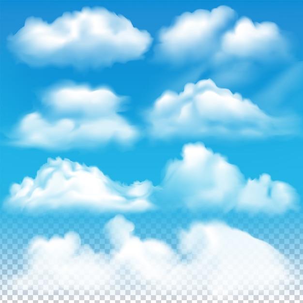 L'insieme delle nuvole di vettore realistico Vettore Premium