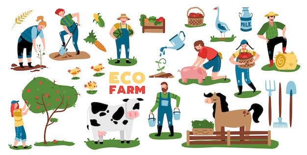 L'insieme di agricoltura eco delle immagini isolate con l'attrezzatura degli animali da allevamento delle piante e i caratteri di scarabocchio della gente vector l'illustrazione Vettore gratuito