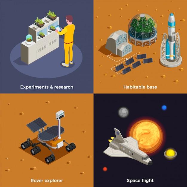 L'insieme di concetti di colonizzazione di marte della ricerca dell'esploratore del rover di volo spaziale sperimenta le composizioni isometriche nella base abitabile Vettore gratuito