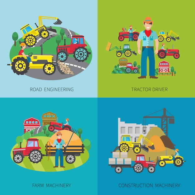 L'insieme di concetto di progetto dell'autista del trattore con le icone piane del macchinario dell'azienda agricola della costruzione e dell'azienda agricola di costruzione ha isolato l'illustrazione di vettore Vettore gratuito