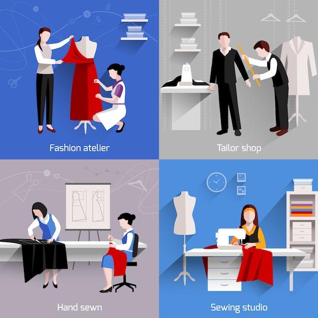 L'insieme di cucito di concetto di progetto con le icone piane del negozio dello studio del sarto dell'atelier di modo ha isolato l'illustrazione di vettore Vettore Premium