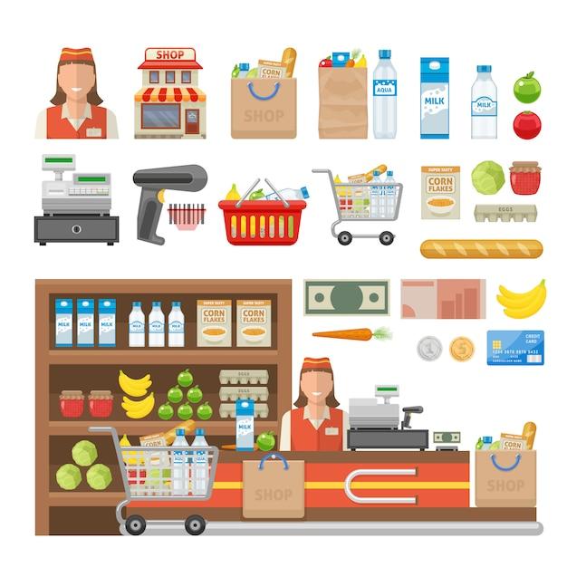 L'insieme di elementi decorativo del supermercato con l'attrezzatura degli impiegati dei contanti dell'alimento del negozio e della carta bancaria ha isolato l'illustrazione di vettore Vettore gratuito