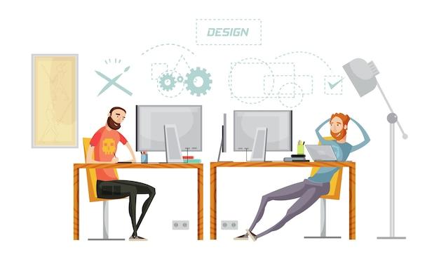 L'insieme di sviluppo del gioco dei caratteri piani alla tavola nell'interno dell'ufficio con il pensiero concettuale firma l'illustrazione di vettore Vettore Premium