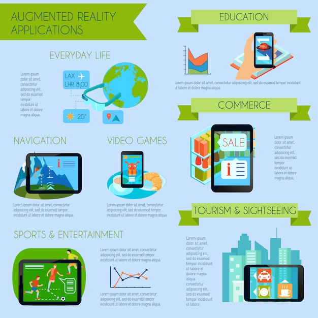 L'insieme infographic di realtà aumentata con la realtà aumentata applica l'illustrazione piana di vettore di simboli Vettore gratuito