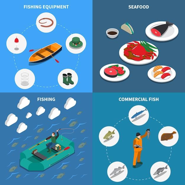 L'insieme isometrico dell'illustrazione di pesca con i simboli commerciali del pesce ha isolato l'illustrazione Vettore gratuito