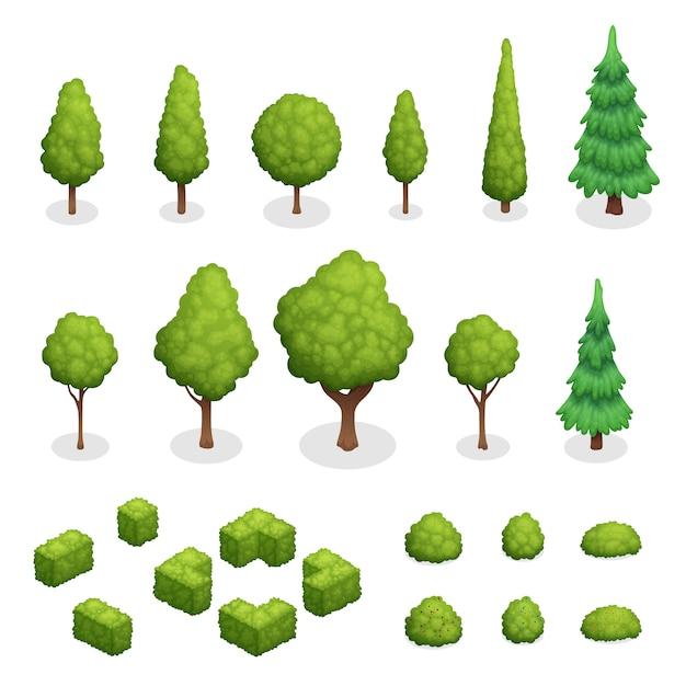L'insieme isometrico delle piante del parco con gli alberi ed i cespugli verdi di varie forme ha isolato l'illustrazione di vettore Vettore gratuito