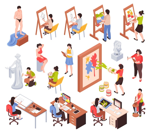 L'insieme isometrico di professione creativa con i padroni degli artisti della scultura e dei grafici delle terraglie ha isolato l'illustrazione di vettore Vettore gratuito