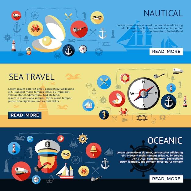 L'insieme nautico colorato ed isolato orizzontale di tre insiemi con le descrizioni oceaniche di viaggio per mare vector l'illustrazione Vettore Premium