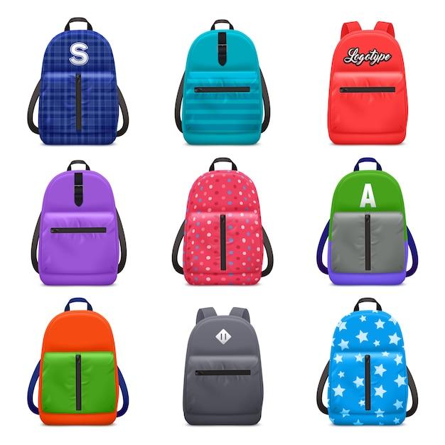 L'insieme realistico del modello di colore dello zaino della scuola con le immagini isolate delle borse dei bambini con i modelli moderni del tessuto vector l'illustrazione Vettore gratuito