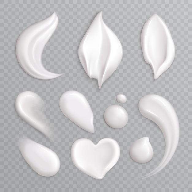 L'insieme realistico dell'icona delle sbavature della crema cosmetica con bianco ha isolato gli elementi differenti forme e illustrazione di dimensioni Vettore gratuito