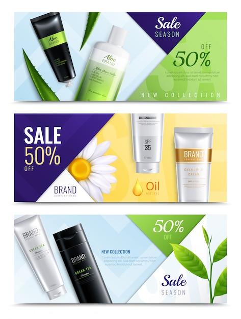 L'insieme realistico dell'insegna di tre ingredienti organici orizzontali dei cosmetici con le nuove descrizioni della raccolta di stagione di vendita vector l'illustrazione Vettore gratuito