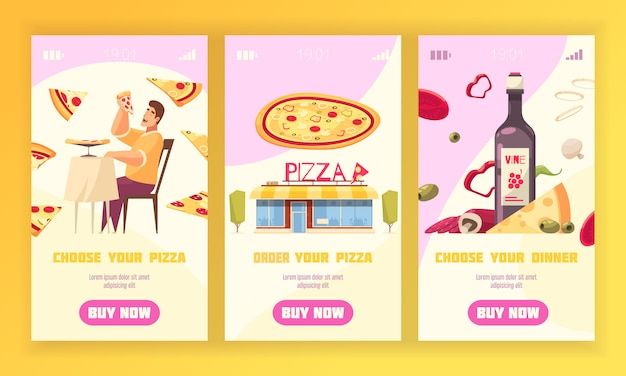 L'insieme verticale dell'insegna di tre pizze con sceglie e ordina la vostra pizza e sceglie le vostre descrizioni della cena vector l'illustrazione Vettore gratuito