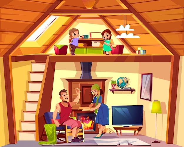 L'interno del fumetto di vettore della casa con la famiglia felice, i bambini gioca sulla soffitta, sull'uomo e sulla donna nella vita Vettore gratuito