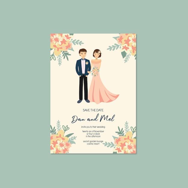 L'invito sveglio dell'invito di nozze dell'illustrazione del ritratto delle coppie conserva il modello della data Vettore Premium