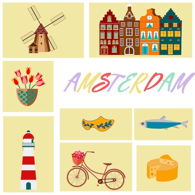 L'olanda viaggia con simboli culturali e panoramici cornice con zoccoli in legno e mulini a vento Vettore Premium