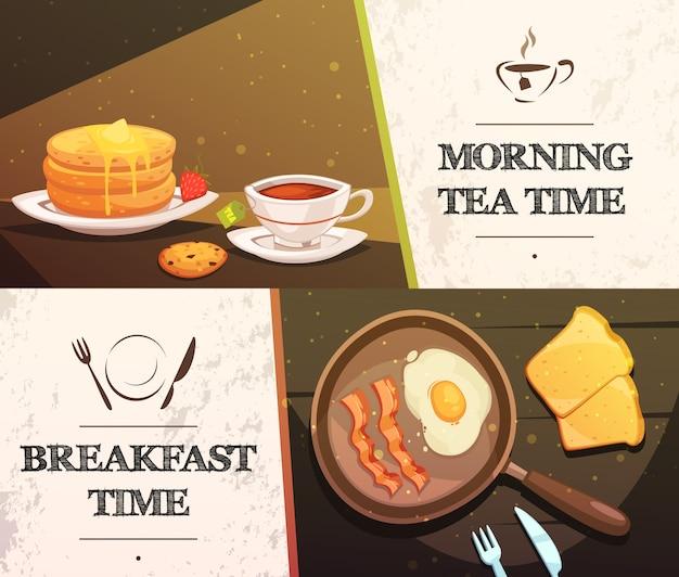 L'ora della colazione e il tè del mattino due stendardi orizzontali piatti Vettore gratuito