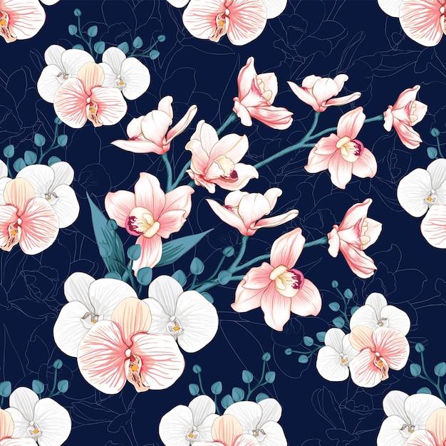L'orchidea senza cuciture di rosa del modello fiorisce il fondo astratto. Vettore Premium