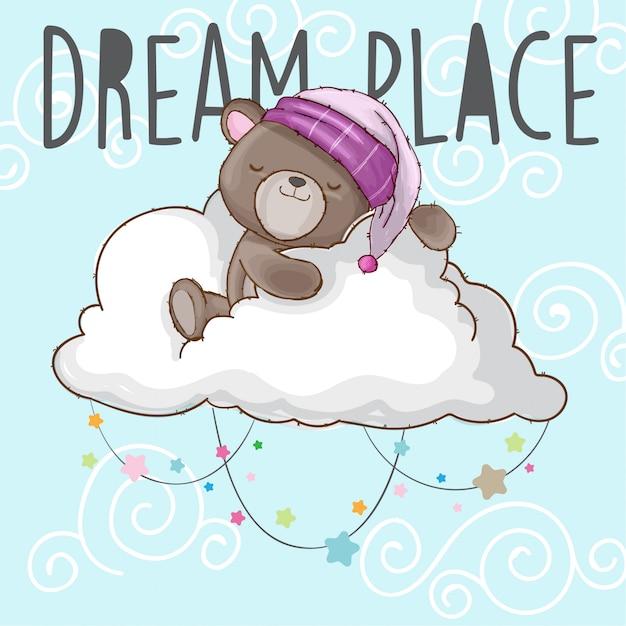 L'orso del bambino dorme sull'animale disegnato a mano della nuvola Vettore Premium