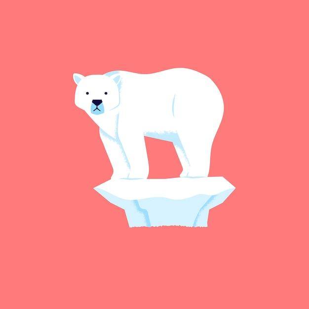 L'orso polare si alza e sembra tristemente perché il ghiaccio si sta sciogliendo Vettore Premium