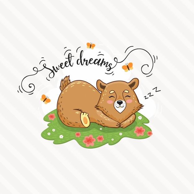 L'orso sveglio del fumetto sta dormendo sul prato inglese. tempo di srping Vettore Premium