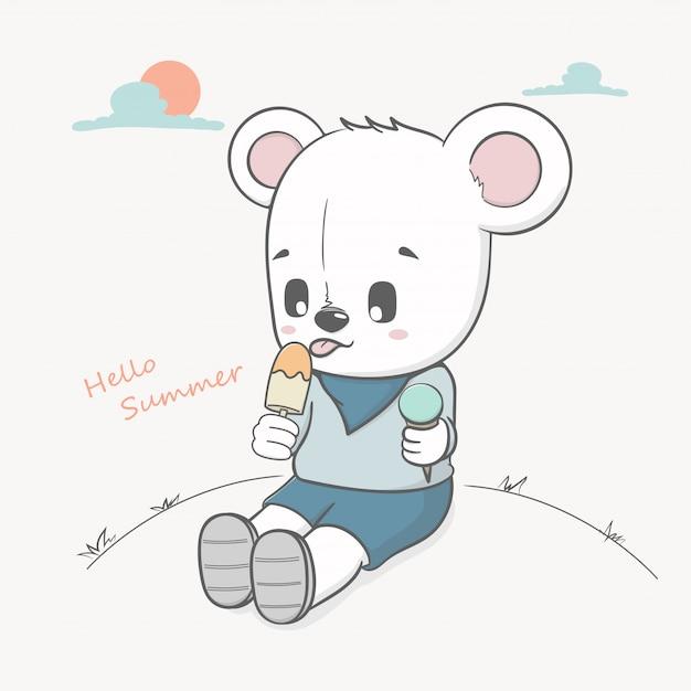 L'orso sveglio mangia il gelato ciao l'estate Vettore Premium