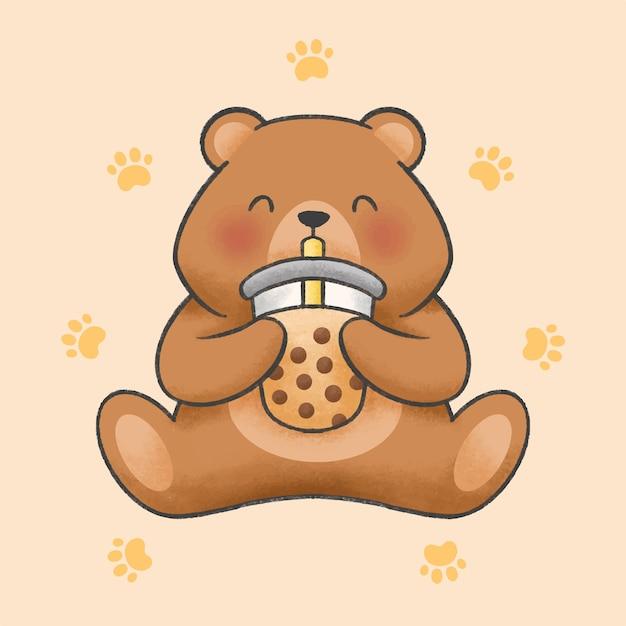 L'orso sveglio mangia lo stile disegnato a mano del fumetto del tè al latte della bolla Vettore Premium