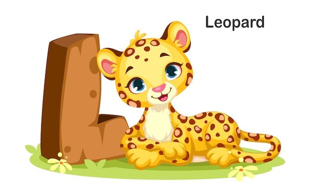 L per leopard Vettore Premium