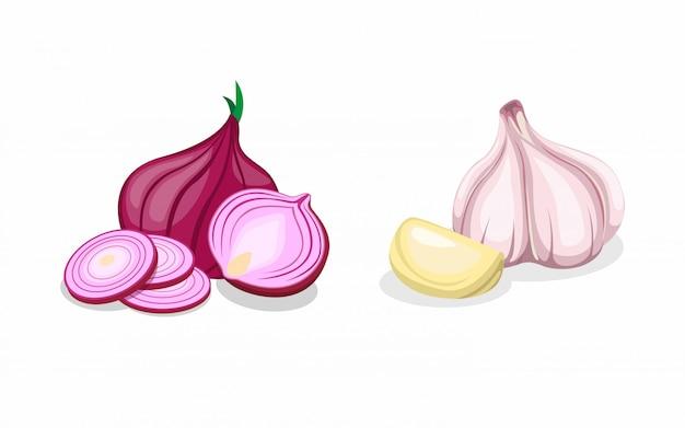 L'unione rossa e dell'aglio nell'icona affettata ed intera della raccolta ha messo nel vettore dell'illustrazione del fumetto Vettore Premium