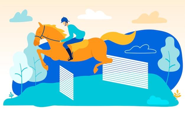 L'uomo a cavallo salta sopra le barriere. equitazione Vettore Premium