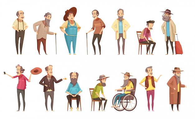 L'uomo anziano disabile i cittadini con le retro insegne delle icone del fumetto della canna da passeggio messe isolate Vettore gratuito