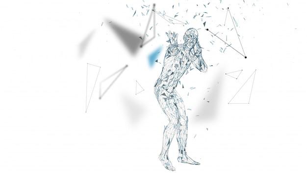 L'uomo astratto concettuale ha paura della paura. linee collegate, punti, triangoli, particelle. Vettore Premium