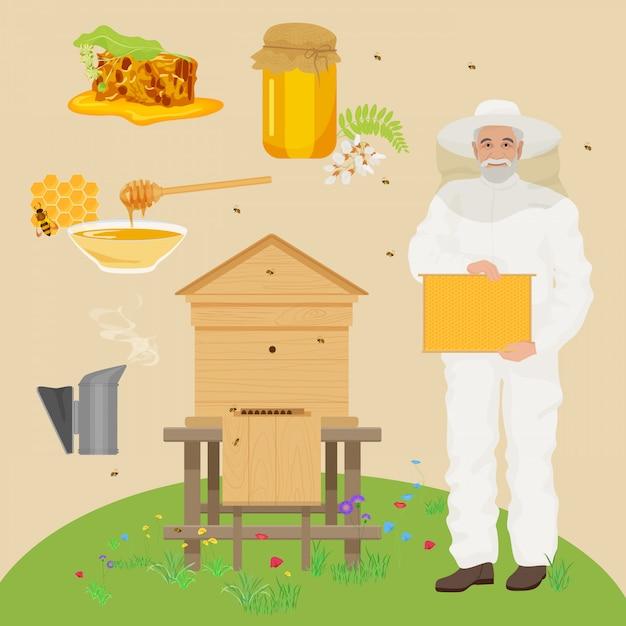 L'uomo beekeer con icone casa delle api Vettore Premium
