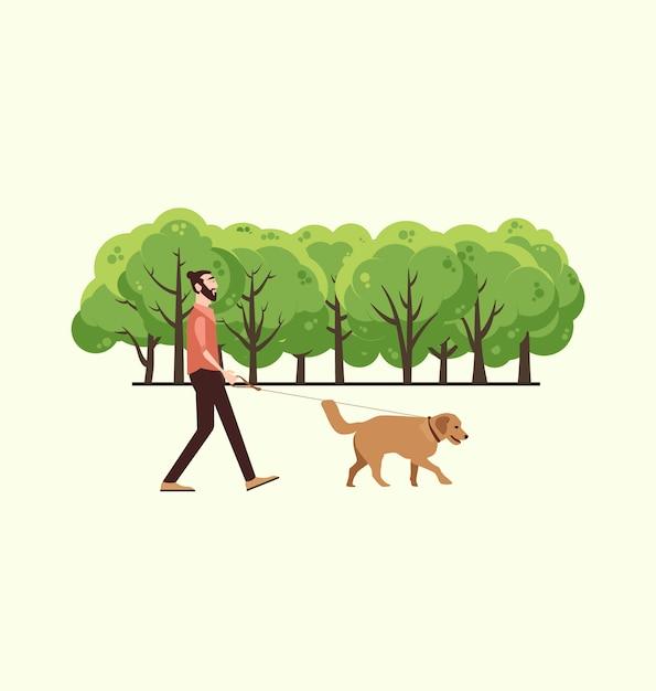 L'uomo con il suo cane a fare una passeggiata Vettore gratuito