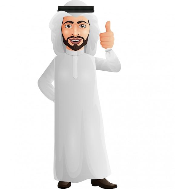 L'uomo d'affari arabo che mostra i pollici aumenta il segno Vettore Premium