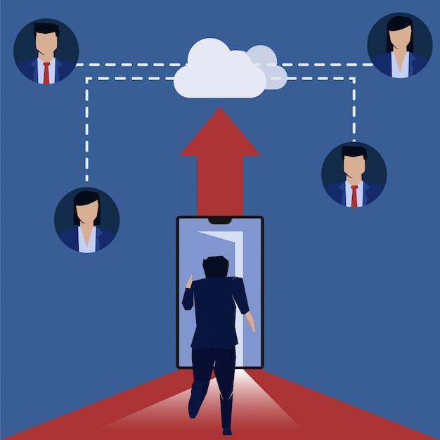 L'uomo d'affari che corre al telefono ottiene un job cloud server online. Vettore Premium
