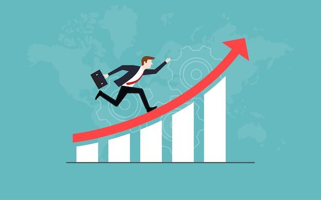 L'uomo d'affari che corre sulla freccia rossa su va al successo Vettore Premium