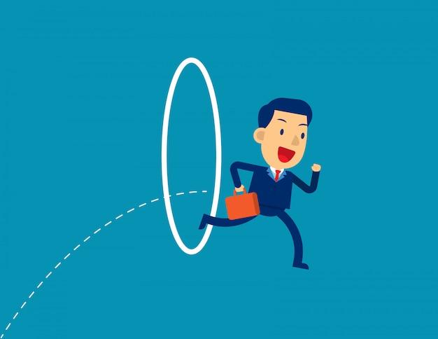 L'uomo d'affari che salta attraverso il cerchio. Vettore Premium