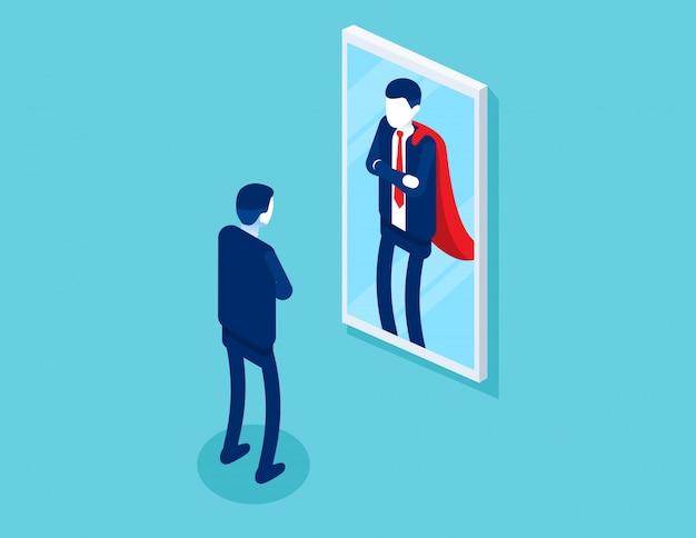 L'uomo d'affari che sta davanti ad uno specchio è riflesso come un superuomo Vettore Premium
