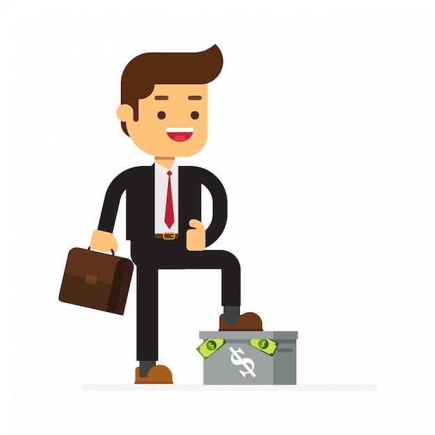 L'uomo d'affari che sta sulla scatola ha soldi Vettore Premium