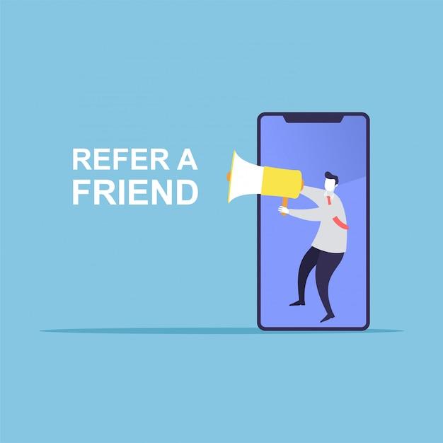 L'uomo d'affari condivide informazioni su come riferirsi a un amico Vettore Premium