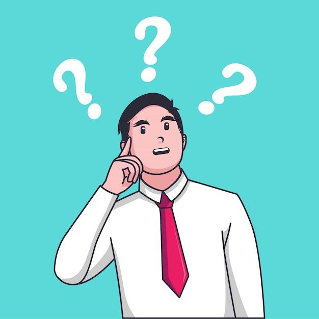 L'uomo d'affari confuso fa la scelta davanti a due frecce Vettore Premium