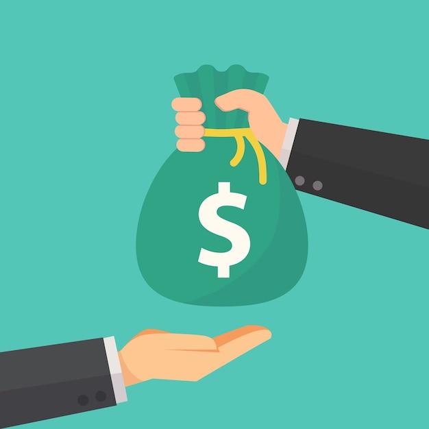 L'uomo d'affari dà la borsa dei soldi ad un altro vettore dell'uomo d'affari Vettore Premium