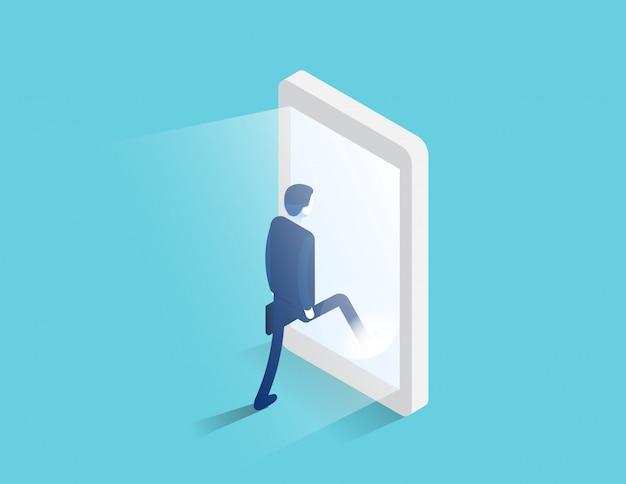 L'uomo d'affari entra nello schermo d'ardore di uno smartphone. portale digitale e accesso Vettore Premium
