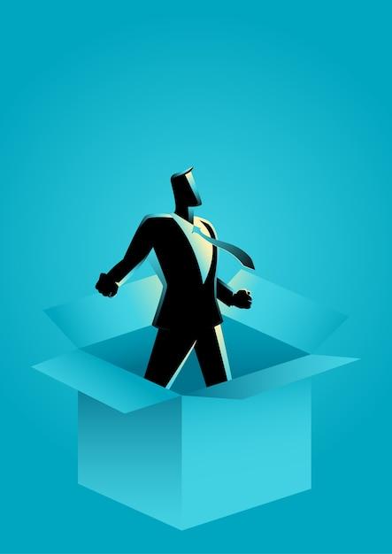 L'uomo d'affari esce dalla scatola Vettore Premium