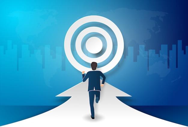 L'uomo d'affari fa un passo in avanti verso l'obiettivo, per essere successo Vettore Premium
