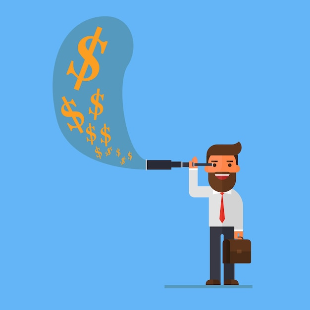L'uomo d'affari facendo uso del telescopio vede i soldi Vettore Premium