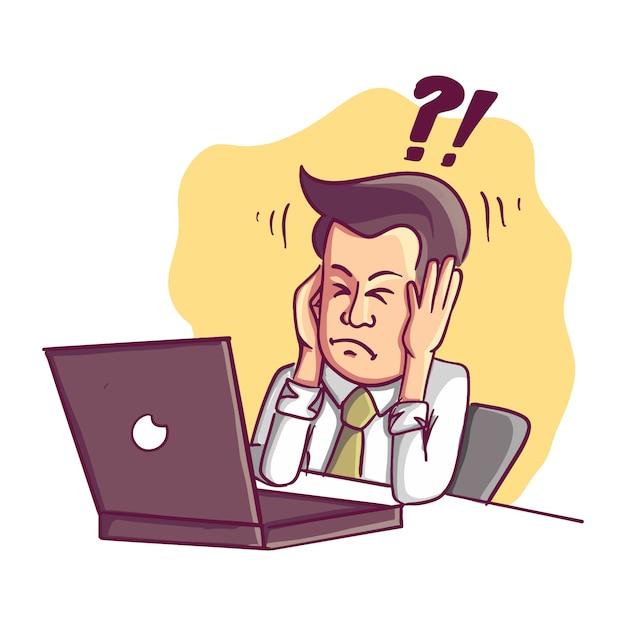 L'uomo d'affari fallito e stressato è stanco di lavorare al computer Vettore Premium