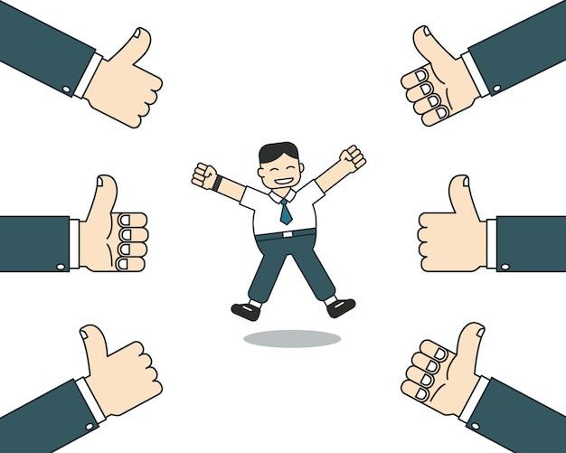 L'uomo d'affari felice del fumetto con molti pollici aumenta le mani Vettore Premium