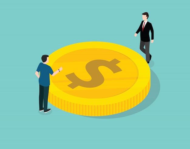L'uomo d'affari gestisce e discute sulla finanza Vettore Premium
