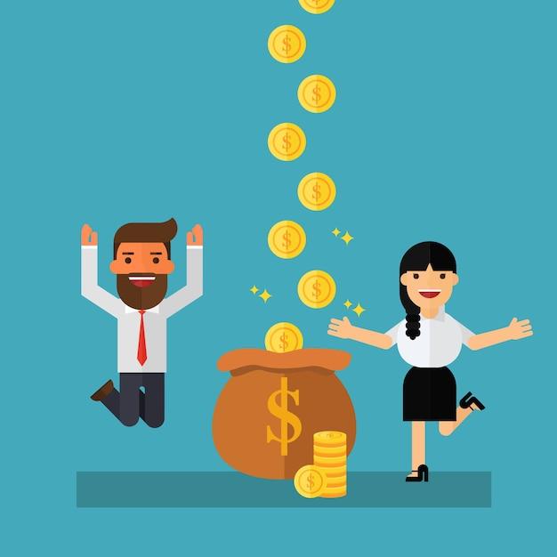 L'uomo d'affari guadagna più soldi Vettore Premium